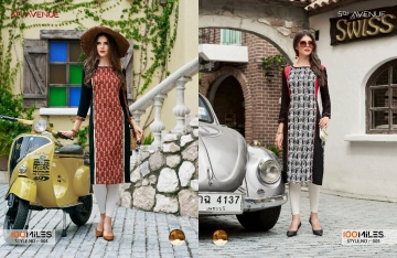 100 MILES 5TH AVENUE COTTON DESIGNER PRINTED KURTI WHOLESALE SURAT 04-05