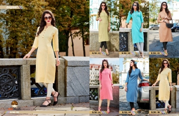 100 MILES BY DEGREE CATALOGUE LINEN COTTON DESIGNER PLAIN KURTI COLLECTION WHOLESALE SURAT 6-T