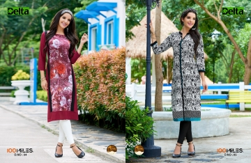 100 MILES DELTA COTTON DESIGNER KURTI COLLECTION WHOLESALE ONLINE SURAT 4-5