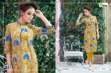 100 MILES LIME VOL 2 WHOLESALE PLAIN DESIGNER KURTI SURAT 13
