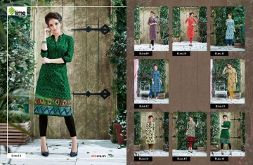 100 MILES LIME VOL 2 WHOLESALE PLAIN DESIGNER KURTI SURAT 16-T