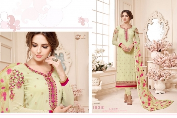 AADESH NX QUEEN VOL 11 GEORGETTE STRAIGHT EMBROIDERY SUITS 11001