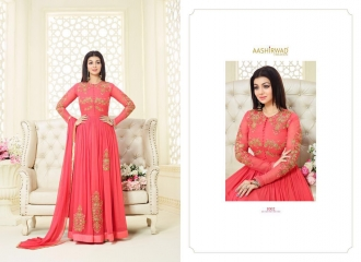 AASHIRWAD CREATION SIGNATURE GEORGETTE EMBROIDERED SALWAR KAMEEZ WHOLESALER SURAT 1002