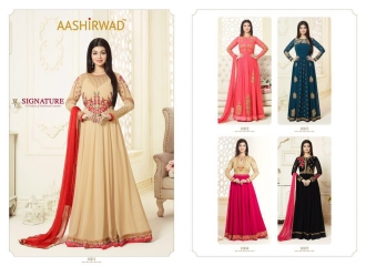 AASHIRWAD CREATION SIGNATURE GEORGETTE EMBROIDERED SALWAR KAMEEZ WHOLESALER SURAT T