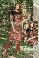 ARENA FASHION FEMINISTA LABELS POLY SILK KURTI WHOLESALER SURAT 105