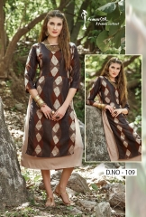 ARENA FASHION FEMINISTA LABELS POLY SILK KURTI WHOLESALER SURAT 109