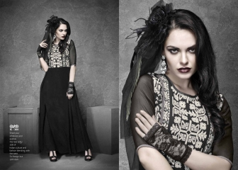 ETERNAL BLACK AGAIN GEORGETTE KURTI DIWALI COLLECTION WHOLESALE SURAT 264