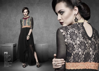 ETERNAL BLACK AGAIN GEORGETTE KURTI DIWALI COLLECTION WHOLESALE SURAT 268