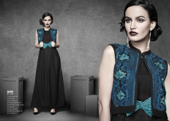 ETERNAL BLACK AGAIN GEORGETTE KURTI DIWALI COLLECTION WHOLESALE SURAT 271