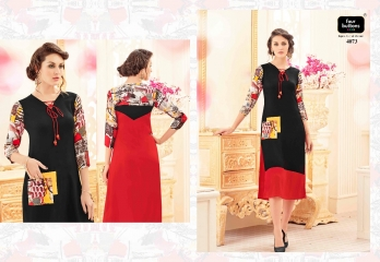 FOUR BUTTONS VERVE TRENDY PRINTS KURTIS WHOLESALE EXPORTER SURAT 4073