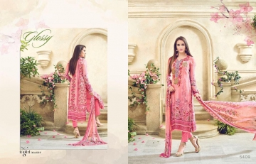 GLOSSY MAGNUM DIGITAL PRINT EMBROIDERED STRAIGHT SUITS 5409