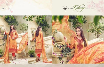 GLOSSY MAGNUM DIGITAL PRINT EMBROIDERED STRAIGHT SUITS 5412