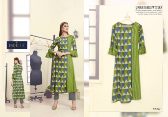 INDICUT ALLURE RAYON LONG KURTI WHOLESALE ONLINE DEALER 1002