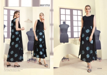 INDICUT ALLURE RAYON LONG KURTI WHOLESALE ONLINE DEALER 1004