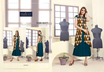 INDICUT ALLURE RAYON LONG KURTI WHOLESALE ONLINE DEALER 1005 A