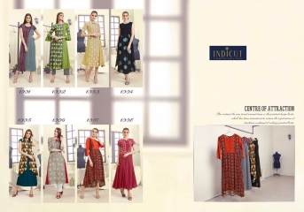 INDICUT ALLURE RAYON LONG KURTI WHOLESALE ONLINE DEALER T