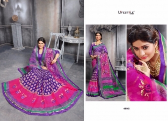 KATHA COTTON VOL 10 BY LIFESTYLE COTTON PRINT WITH WORK SAREES COLLECTION 48142