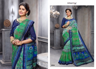 KATHA COTTON VOL 10 BY LIFESTYLE COTTON PRINT WITH WORK SAREES COLLECTION 48144