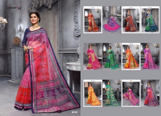 KATHA COTTON VOL 10 BY LIFESTYLE COTTON PRINT WITH WORK SAREES COLLECTION T