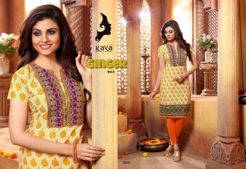 KAYA BY GINGER VOL 3 COTTON CAMBRIC CASUAL WEAR KURTI COLLECTION WHOLESALE 3001