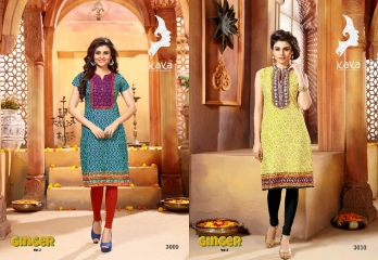 KAYA BY GINGER VOL 3 COTTON CAMBRIC CASUAL WEAR KURTI COLLECTION WHOLESALE 3009-3010
