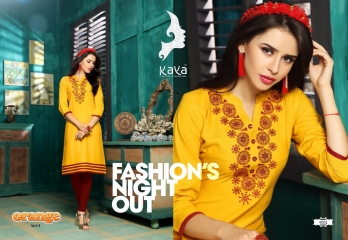 KAYA BY ORANGE VOL 4 FANCY RAYON CASUAL WEAR KURTI COLLECTION WHOLESALE SURAT 4001