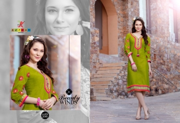 KERSOM BY AASHI VOL 2 SLUB COTTON PARTY WEAR KURTI WHOLESALER SURAT 206