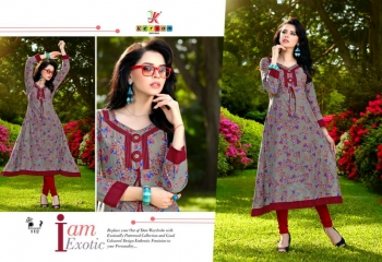 KERSOM BY PRINCESS COTTON CAMBRIC PRINT CASUAL WEAR KURTI COLLECTION WHOLESALE PRICE 112