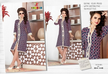 KERSOM VICTORIA CATALOGUE COTTON PRINTED CASUAL WEAR KURTI COLLECTION WHOLESALE PRICE 101