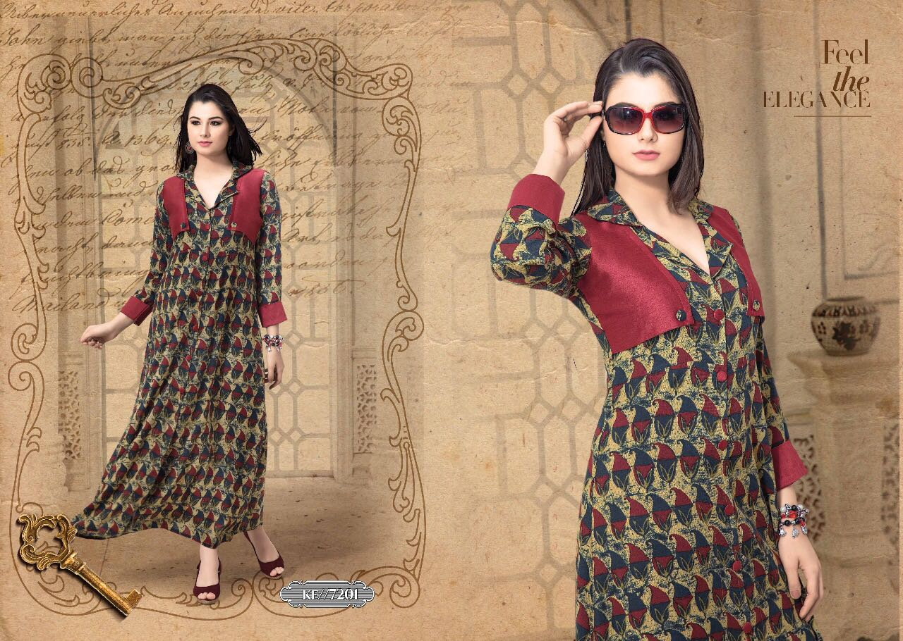 KRISHRIYA BY EXOTIC VOL 2 RAYON COTTON LONG DESIGNER WEAR KURTI COLLECTION WHOLESALE RATE 7201