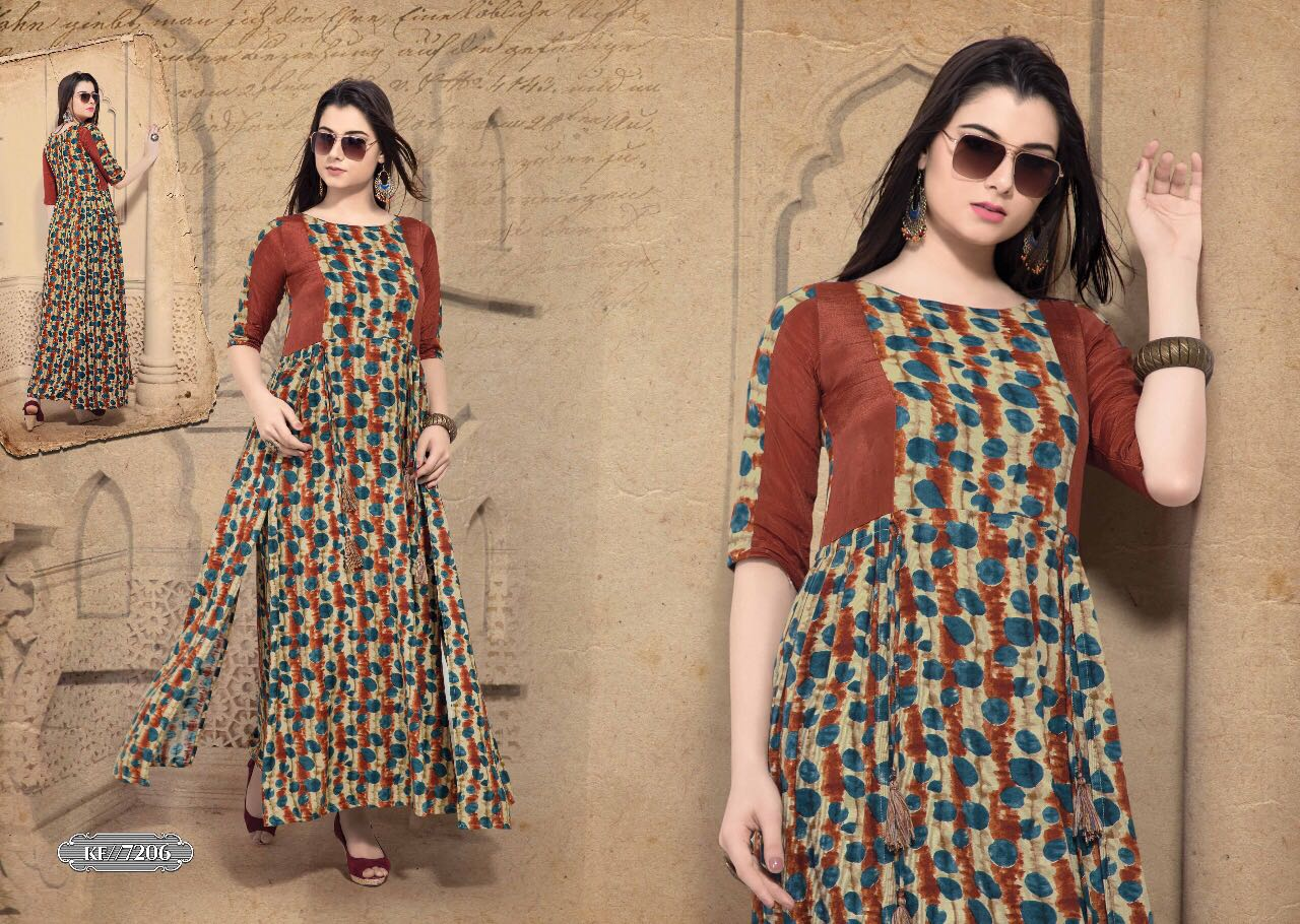 KRISHRIYA BY EXOTIC VOL 2 RAYON COTTON LONG DESIGNER WEAR KURTI COLLECTION WHOLESALE RATE 7206