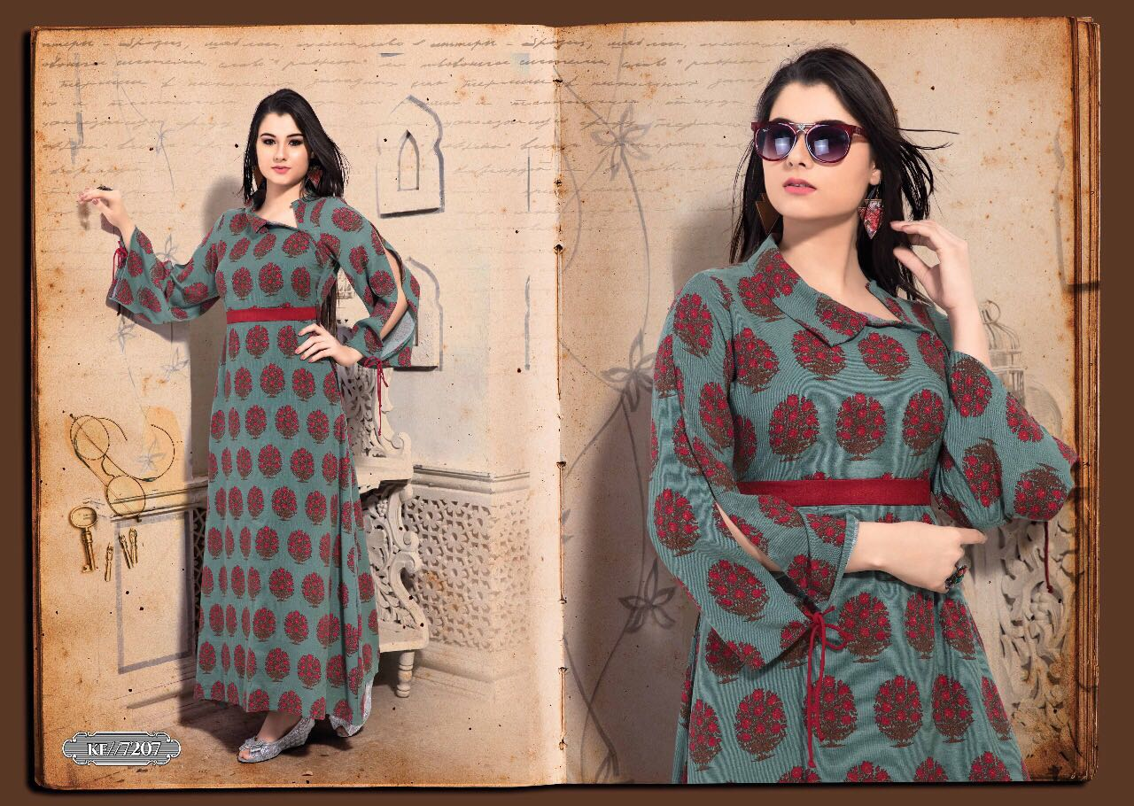 KRISHRIYA BY EXOTIC VOL 2 RAYON COTTON LONG DESIGNER WEAR KURTI COLLECTION WHOLESALE RATE 7207