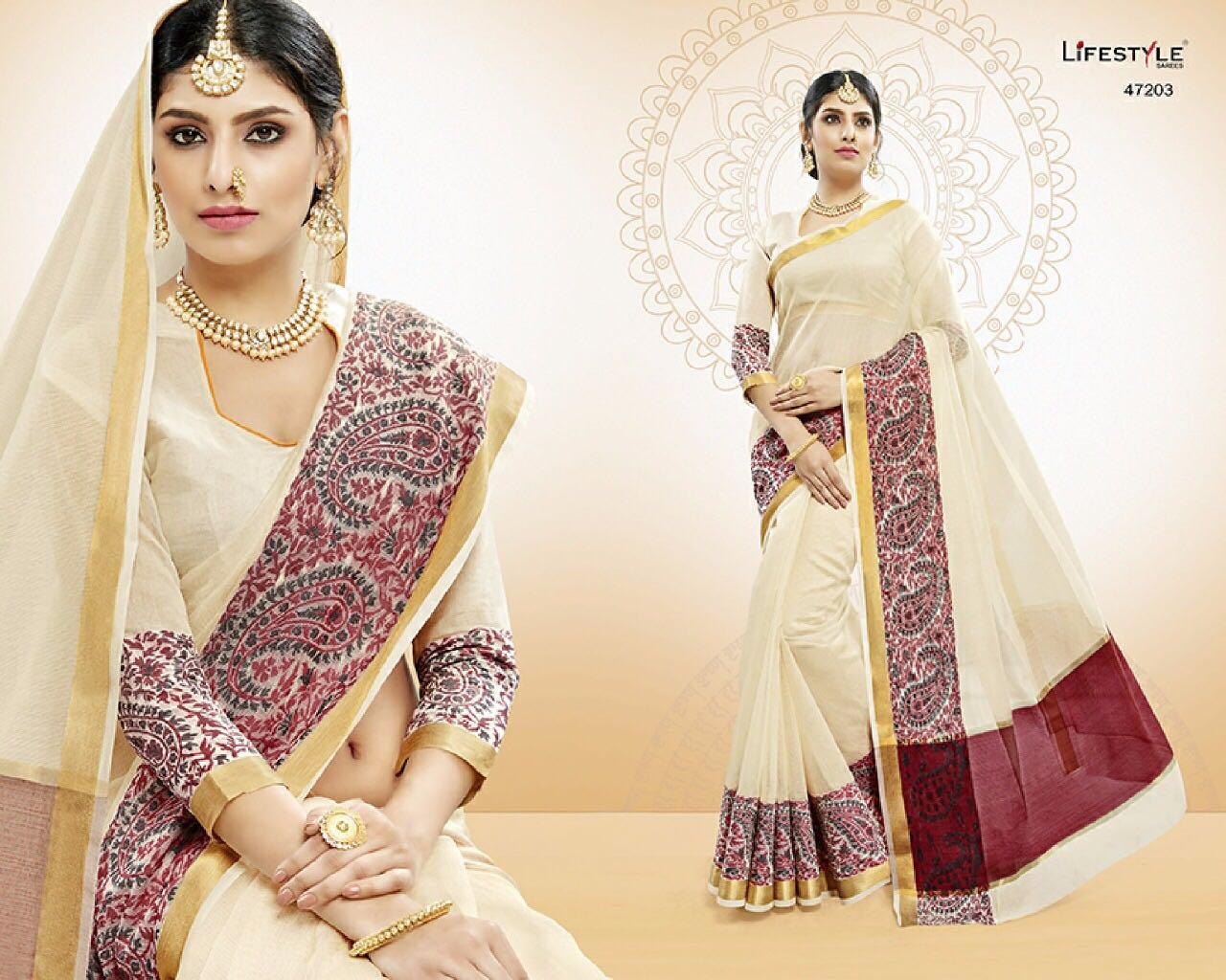 LIFESTYLE BY VATIKA CATALOGUE COTTON WEAVING SILK SAREES WHOLESALE SURAT ONLINE 47203
