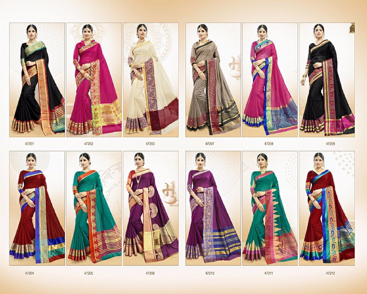 LIFESTYLE BY VATIKA CATALOGUE COTTON WEAVING SILK SAREES WHOLESALE SURAT ONLINE T
