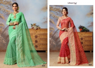 LIFESTYLE COTTON VALLEY VOL 2 COTTON PRINT CASUAL WEAR SAREES COLLECTION WHOLESALE PRICE 48346-48347