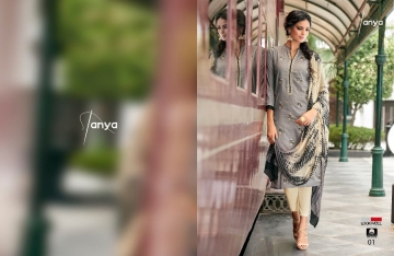 LOOKWELL TANYA COTTON EMBROIDERY SUITS WHOLESALE INDIA 01