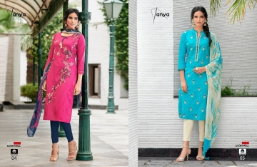 LOOKWELL TANYA COTTON EMBROIDERY SUITS WHOLESALE INDIA 04-05