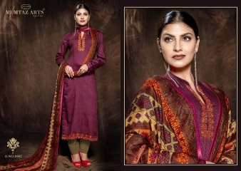 MUMTAAZ ARTS KAPAS JAM SATIN EMBROIDERED SUITS WHOLESALE DEALER SURAT 1002 A