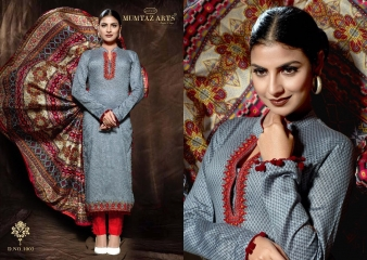 MUMTAAZ ARTS KAPAS JAM SATIN EMBROIDERED SUITS WHOLESALE DEALER SURAT 1003 A