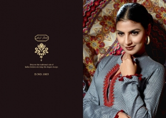 MUMTAAZ ARTS KAPAS JAM SATIN EMBROIDERED SUITS WHOLESALE DEALER SURAT 1003 B
