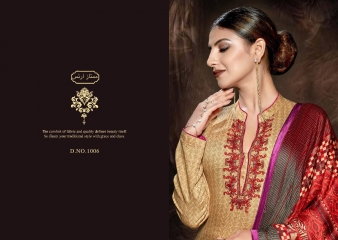 MUMTAAZ ARTS KAPAS JAM SATIN EMBROIDERED SUITS WHOLESALE DEALER SURAT 1006 B