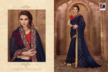 PIKASHO BY IMPRESSION VOL 4 CATALOGUE DESIGNER EMBROIDERED SAREES 1040