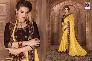 PIKASHO BY IMPRESSION VOL 4 CATALOGUE DESIGNER EMBROIDERED SAREES 1043