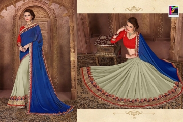 PIKASHO BY IMPRESSION VOL 4 CATALOGUE DESIGNER EMBROIDERED SAREES 1049