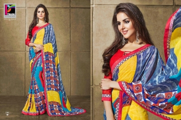 PIKASHO KRITIKA VOLUME 13 GEORGETTE PRINT SAREES WHOLESALE RATE SURAT 1041