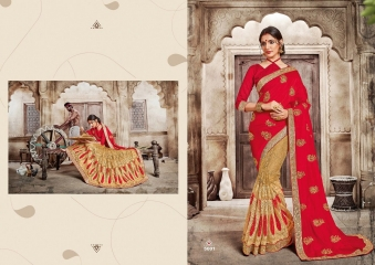 SAROJ GARIMA SILK SAREES WITH EMBROIDERED COLLECTION WHOLESALE SURAT 5001
