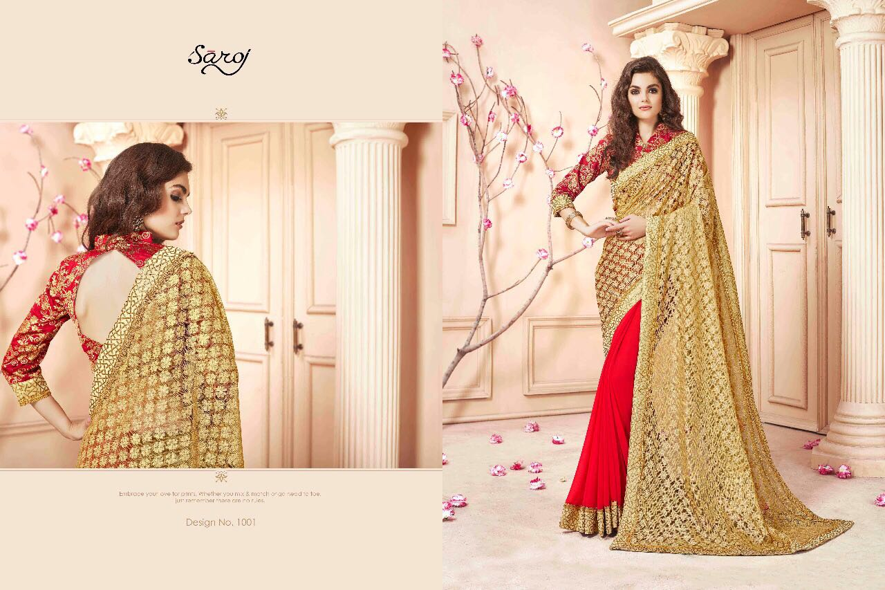 SAROJ SAREES CINDRELLA DESIGNER PARTY WEAR SAREES COLLECTION WHOLESALE SURAT 1001