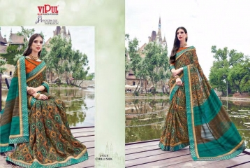 SERIES 34011 BY VIPUL FASHION CHILLI SILK SAREES DIWALI FESTIVAL COLLECTION WHOLESALE SURAT 3