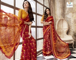 TRIVENI BY BEVELRY VOL 3 CATALOGUE CASUAL WEAR GEORGETTE PRINTS SAREES WHOLESALE 64013