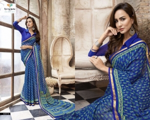 TRIVENI BY BEVELRY VOL 3 CATALOGUE CASUAL WEAR GEORGETTE PRINTS SAREES WHOLESALE 64014